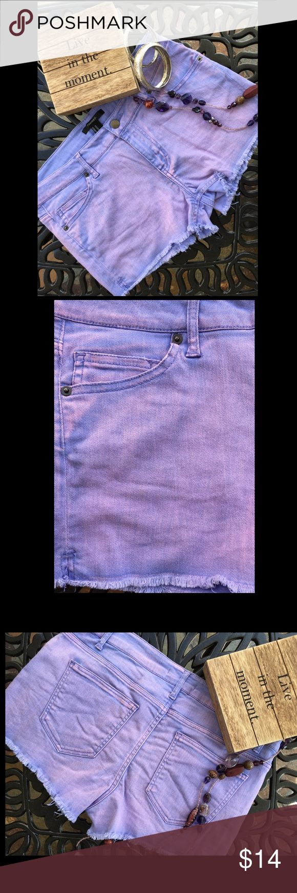 "Lavender Jean Shorts Lavender & light pink jean shorts have three front  and two back pockets. Content is 98% Cotton & 2% Spandex. Inseam is 2.25"" & waist measures 16.25"". Excellent condition with NO spots or damage. Forever 21 Shorts Jean Shorts"