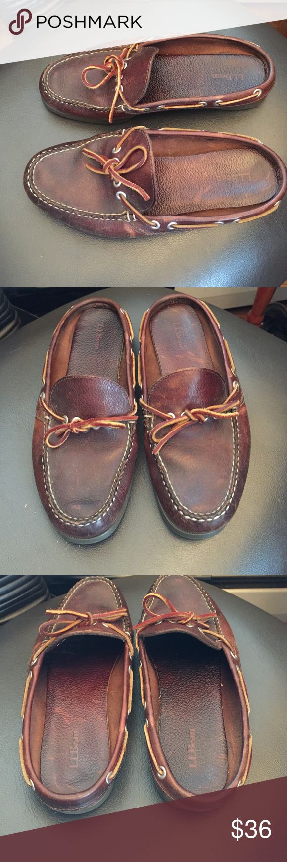 LL Bean slip on leather moccasins These shoes are in great condition. Perfect for wearing around the house and on the go. Conventional  slip on style with a nice look. L.L. Bean Shoes Moccasins