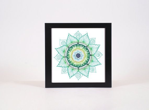 Bright Green multi tone mandala with watercolour background while mandalas have similar aspects, no two are ever the same. mandalas in both the