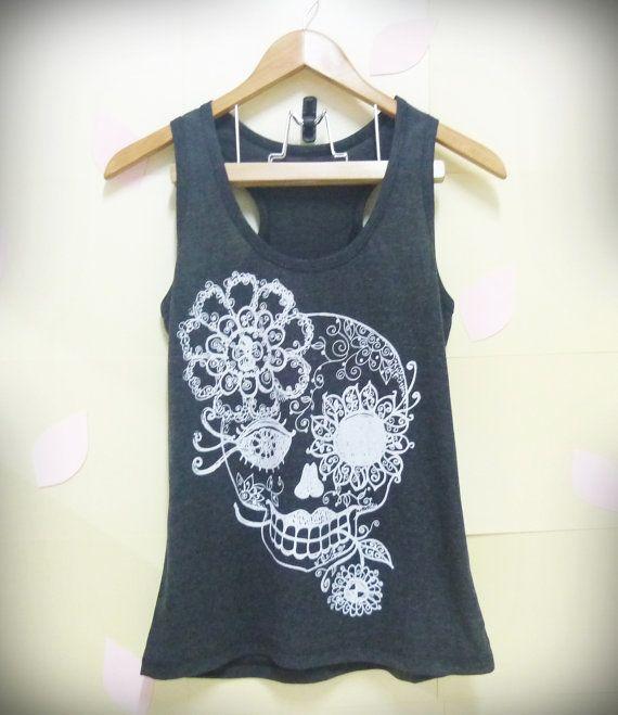 Sale Sugar skull tank top, Vintage flower skull shirt, light BLACK skeleton shirt Women shirt, teen girls top size S,L singlet tshirt blouse...