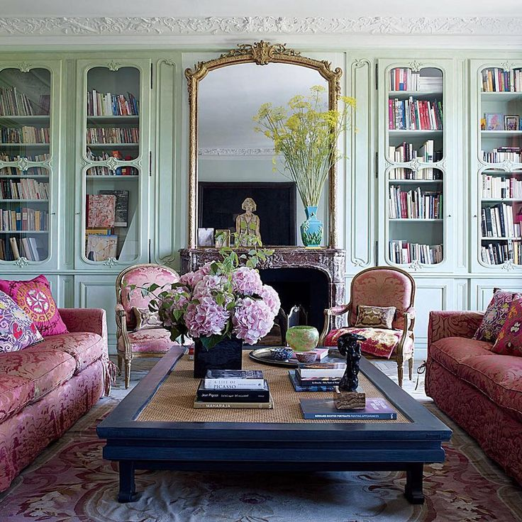 Beautiful Traditional But Glam Living Room Mint Green Glazed Bespoke Cabinetry Rose Pink Damask Sofas And An Amazing French Overmantel Mirror