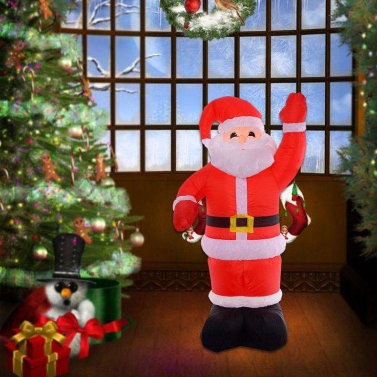Inflatable Outdoor Christmas Decoration Winter Xmass Figure Santa Claus Light Up #InflatableOutdoorChristmasDecoration