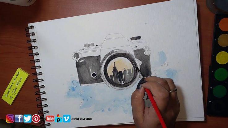 Camara de fotos - Día del fotógrafo - Acuarela - Speedpaint