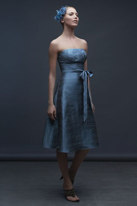 Amazing A-line natural waist taffeta dress for bridesmaid