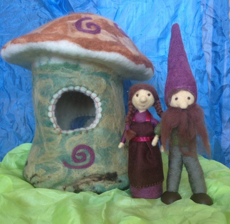 Needle felted gnome family house   Childhood In Me