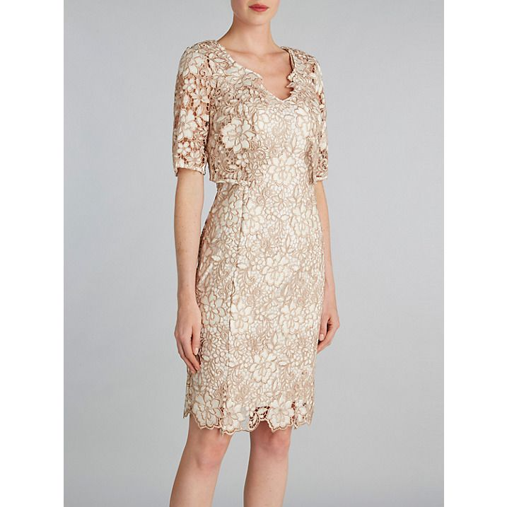 Buy Gina Bacconi Guipure Lace Dress And Jacket, Cookies Cream, 8 Online at johnlewis.com