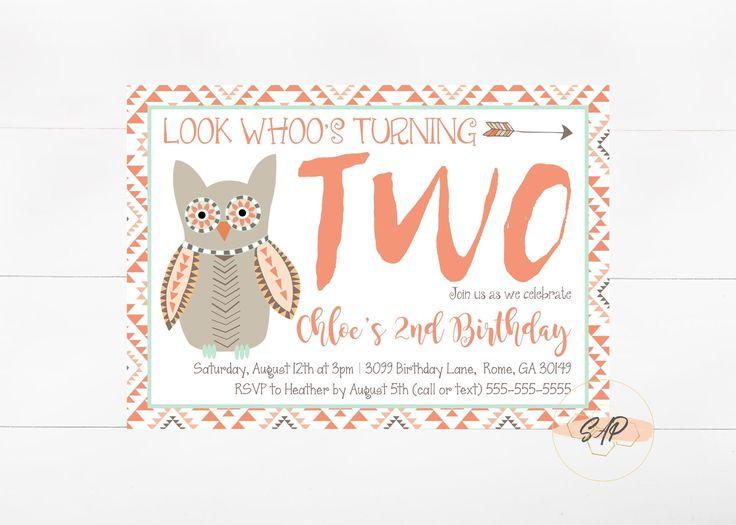 Owl Birthday Invitation - Owl Birthday Party - Look Whoos Turning One - 2nd Birthday Invitation - Birthday Invitation for Girls by SharingAPassionINC on Etsy https://www.etsy.com/listing/539330475/owl-birthday-invitation-owl-birthday