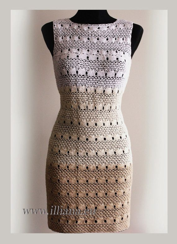 Crochet dress. //  ♡ I LIKE THE IN-BETWEEN PATTERN (not the shells). THAT WOULD MAKE A BEAUTIFUL SHAWL!!!  ♥A