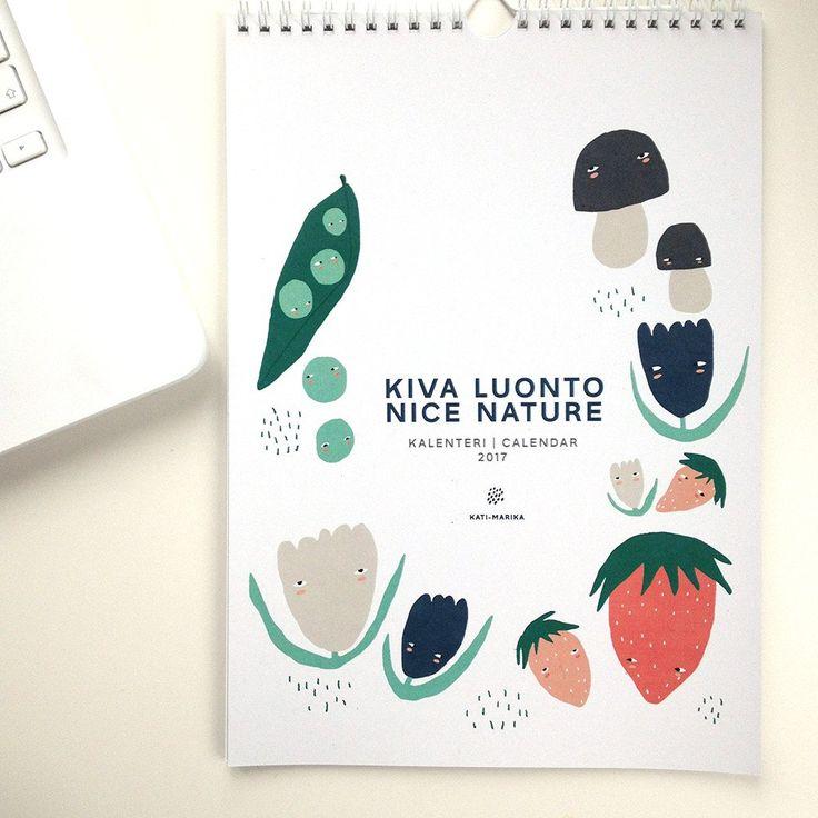 """A lovely wall calendar 2017 by Finnish illustrator Kati-Marika // 2017 Seinäkalenteri """"Kiva Luonto"""" #wallcalendar #finnishdesign"""