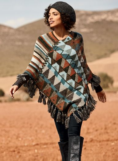For nomads and romantics alike, our bohemian poncho is an artistic patchwork of angled stripes and banded geometrics in hues of earth…