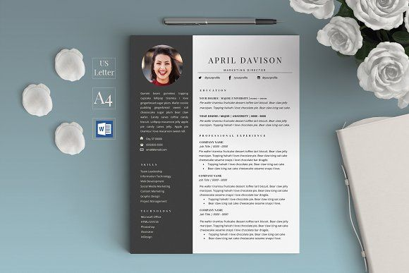 2 Page Resume/CV - April Resume cv, Template and Cv template