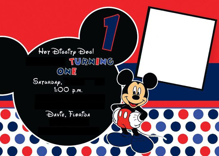 Boy Mickey Invitation Blue - bynedesigns.com