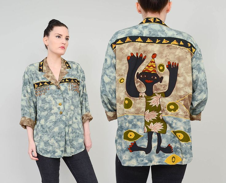 90s Ethnic Novelty Print Top   size S M   African Tribal Shirt Button Up Loose Relaxed Beaded Blouse   Small Medium by SHOPPOMPOMVINTAGE on Etsy https://www.etsy.com/listing/578847991/90s-ethnic-novelty-print-top-size-s-m