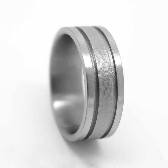 DESCRIPTION:  - Titanium - Hammered centere - Width - 8 mm . Also could be done from 7 mm to 9 mm - Comfort fit - Sizes: All - Free Engraving  *********************** Please read our policies: https://www.etsy.com/ca/shop/AlexisTreasury/policy  In Additional Policies and FAQs you will find a useful information about: RING SIZING GOLD VS PLATINUM *DURABILITY* GOLD VS PLATINUM *COMFORT* GOLD VS PLATINUM *COST* PALLADIUM AS ALTERNATIVE  ************************ Chec...