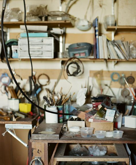 work bench of June Schwarcz, enamel artist