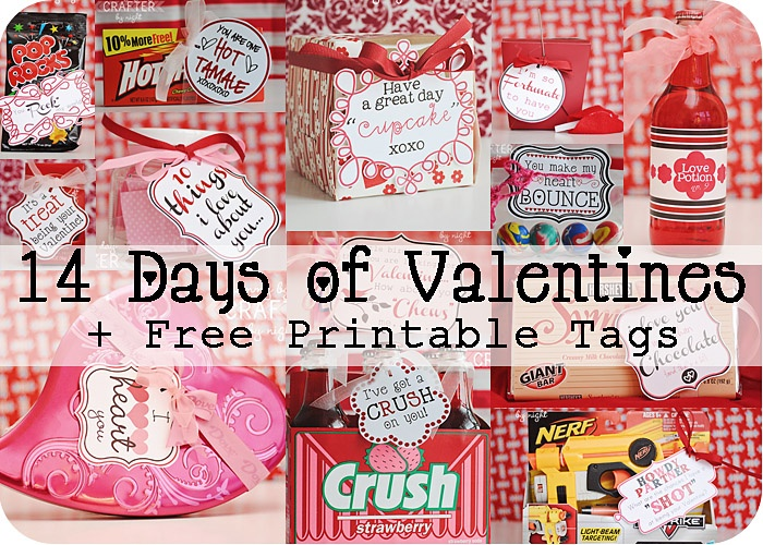 14 days of valentines with free printables.  lots of fun cheap ideas for the hubs. :)