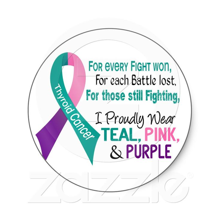 Thyroid Cancer I Proudly Wear Teal Purple Pink 1 Round Sticker from Zazzle.com