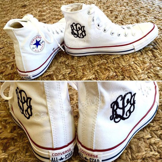 Monogrammed High Top Converse - Side Monogram - 6 Converse Colors Available - Chucks - Embroidered Hi Top Converse - Adult High Tops