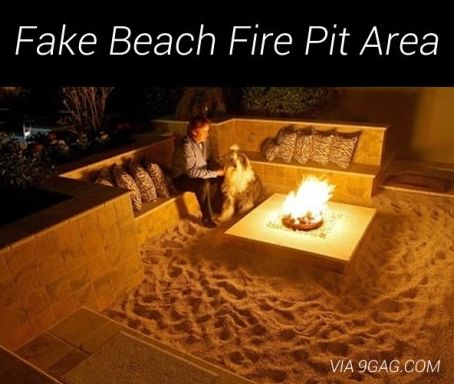 Fake beach fire pit right in your backyard