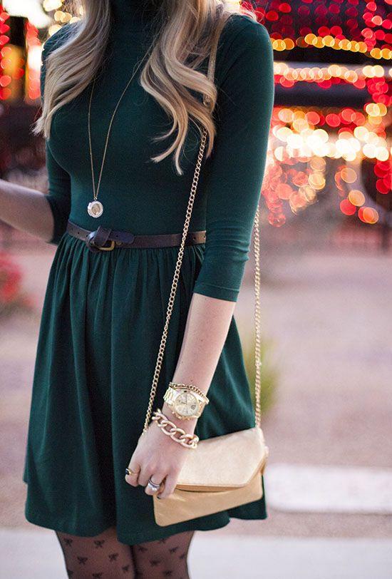 Dark Green Dress & Accessories