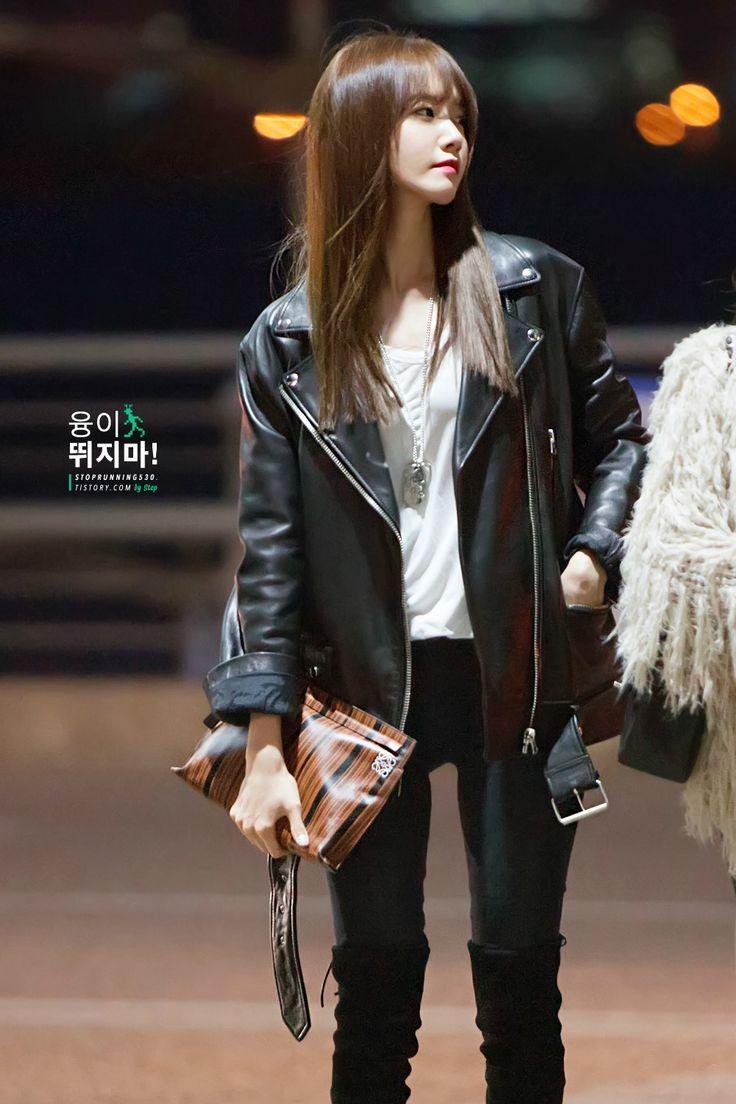 Yoona Black Biker Leather (Top & Bottom) #fringe