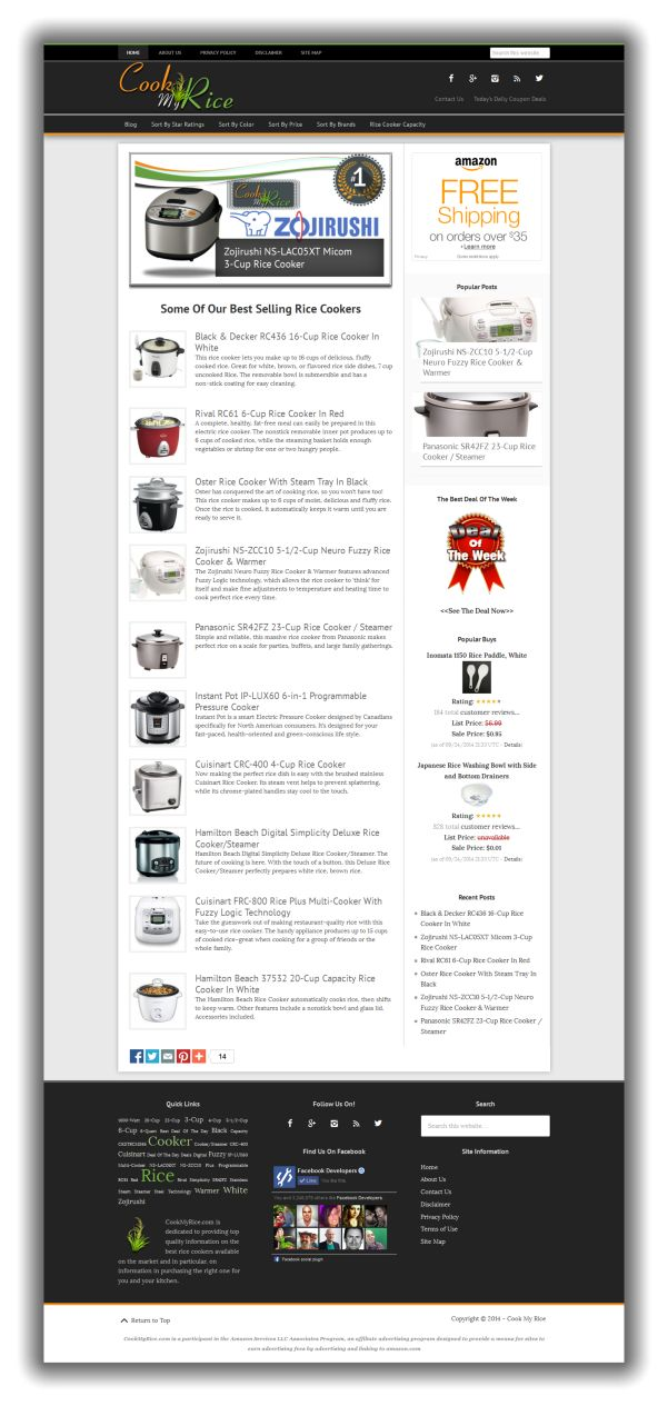 Cook My Rice niche website for sale $99
