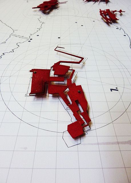 Building Model. Red on white background.