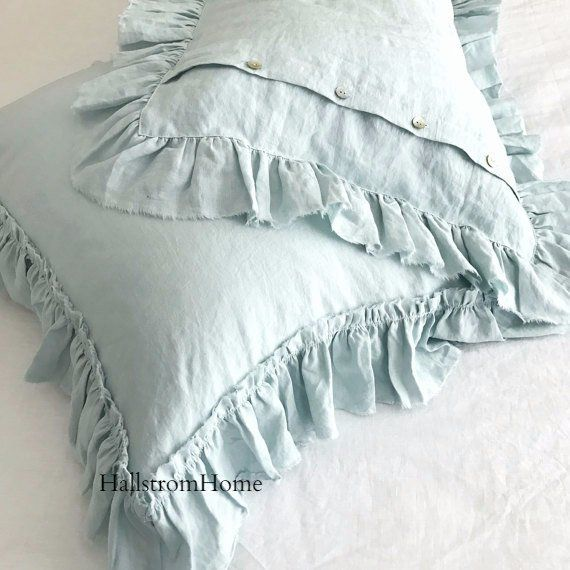 Frayed edge ruffles in pure linen fabric adds, a soft romantic look that will make your bed so inviting. Flax fiber is soft to the touch and becomes even softer with each washing. This washed linen pi