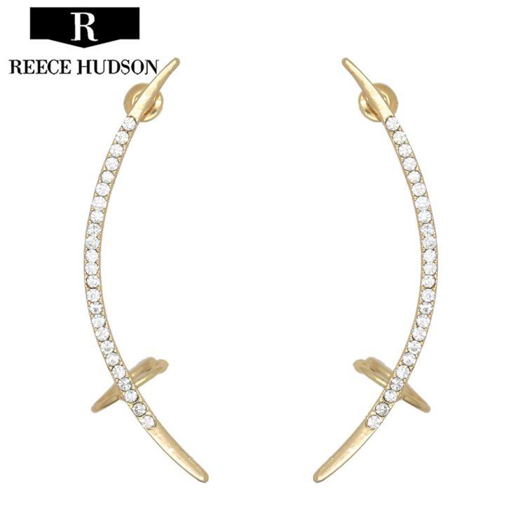 2017 Hot New Fashion Rhinestone Punk Clip Earrings For Women Shiny Crystal Ear Cuff Earring Jewelry Wholesale