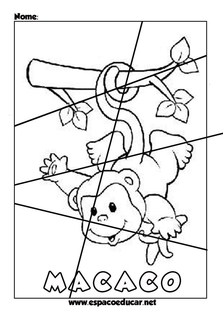Quebra-cabeças educativos ilustrados para imprimir, colorir, recortar e montar! Para aprender brincando!                                   ...