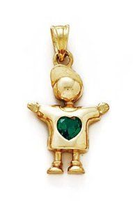 14k Emerald-Green Heart Birthstone Boy Pendant 1 Inch Long - JewelryWeb JewelryWeb. $276.60. Save 50% Off!