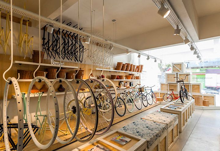 bicycle, display, bike, wheels, baskets, ride Monochrome Bikes store by Nidolab Buenos Aires 04 Monochrome Bikes store by Nidolab, Buenos Aires