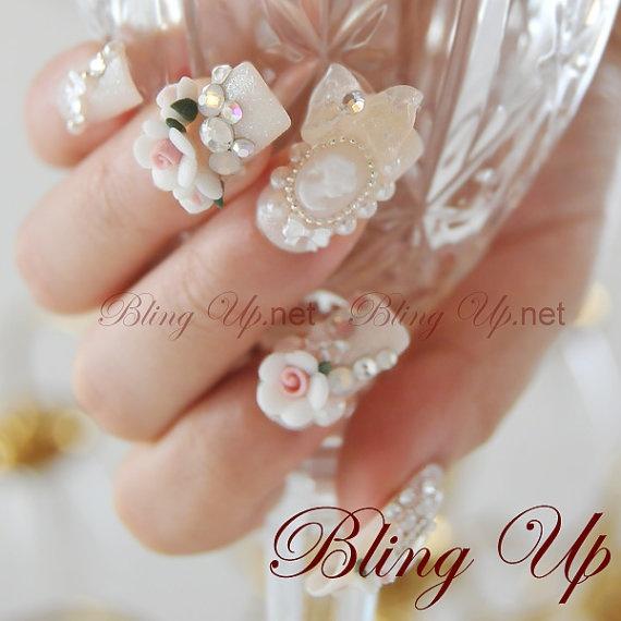 Japanese Nail Art Baroque Rococo Style 3D Nail Art on Bone White Glitter Tip Nails