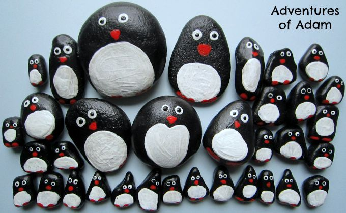 Adventures of Adam DIY penguin story stones