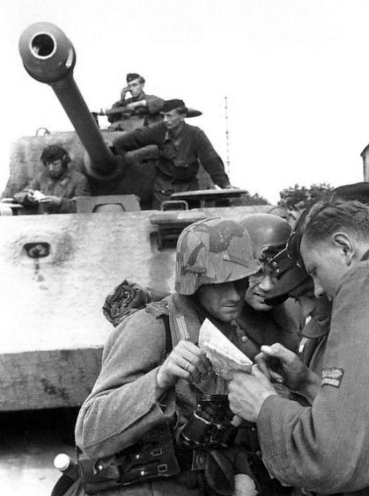 German Wehrmacht soldiers of 130th Panzer Lehr Division study a map of the region surrounding village of Tilly-sur-Seulles during the Battle of Normandy shortly following the Allied landings in France. By the end of June 1944 the division's armored component was severely depleted. Despite this, it continued to hold against the British and Commonwealth forces, engaging in heavy fighting near the town. Tilly-sur-Seulles, Calvados, Lower Normandy, France. 9 June 1944.