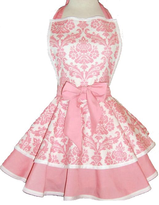 Pink Damask Retro Apron #Fun Kitchen Items