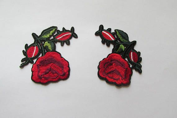 Red Roses 2 patch set  iron on or sew on