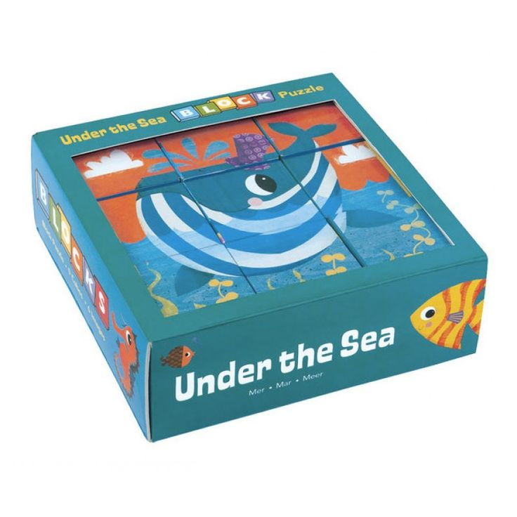 Blockpussel Under The Sea - sojabaserat tryck - Byggklossar - Ekologiska leksaker - GoodforKids