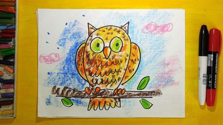 Как нарисовать Сову. Урок рисования для детей от 3 лет
