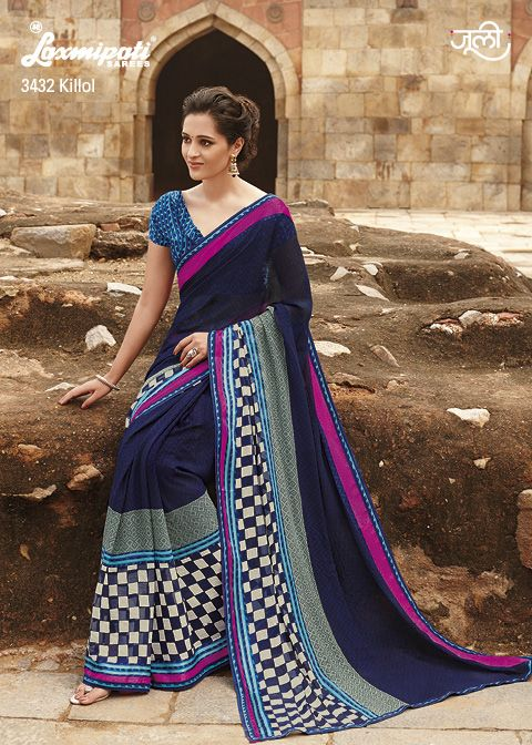 The royal blue, pink, gay and off-white tremendous saree is appealing a mass of trendy and pretty girls.