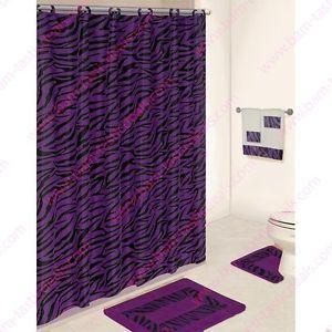 Purple Fabric Shower Curtain   Purple Zebra 18 PC Bathroom Set 2 Rugs Mats 1 Fabric Shower Curtain 12 ...