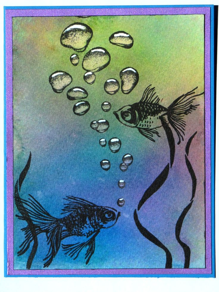 Designs by Ryn Rising Bubbles, Hero Arts Layering Goldfish, background watercolored with distress inks.