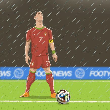 Excited for the World Cup? Starting to look forward to it now so I made a GIF of a sight we're sure to see in the group stage at least, Cristiano lining up a free, rain not so much :) Print Shop / Twitter