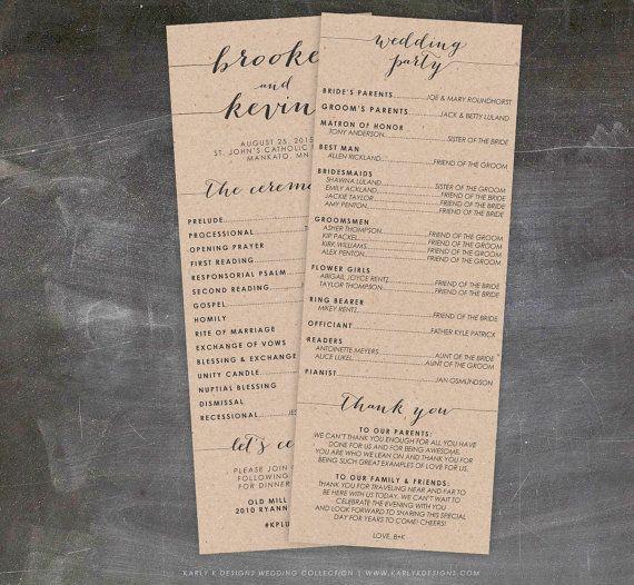 Rustic Wedding Program Fall or Winter Wedding by KarlyKDesignShop