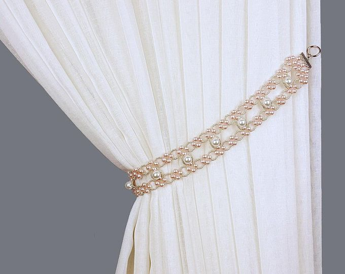 Curtain Tie Back Pearl White Rhinestones Tiebacks Pearl Beaded