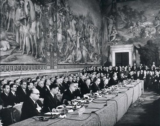 The Treaty of Rome, officially the Treaty establishing the European Economic Community (TEEC), is an international agreement that brought about the creation of the European Economic Community (EEC), the best-known of the European Communities (EC). It was signed on 25 March 1957 by Belgium, France, Italy, Luxembourg, the Netherlands and West Germany and came into force on 1 January 1958. It remains one of the two most important treaties in the modern-day European Union (EU).