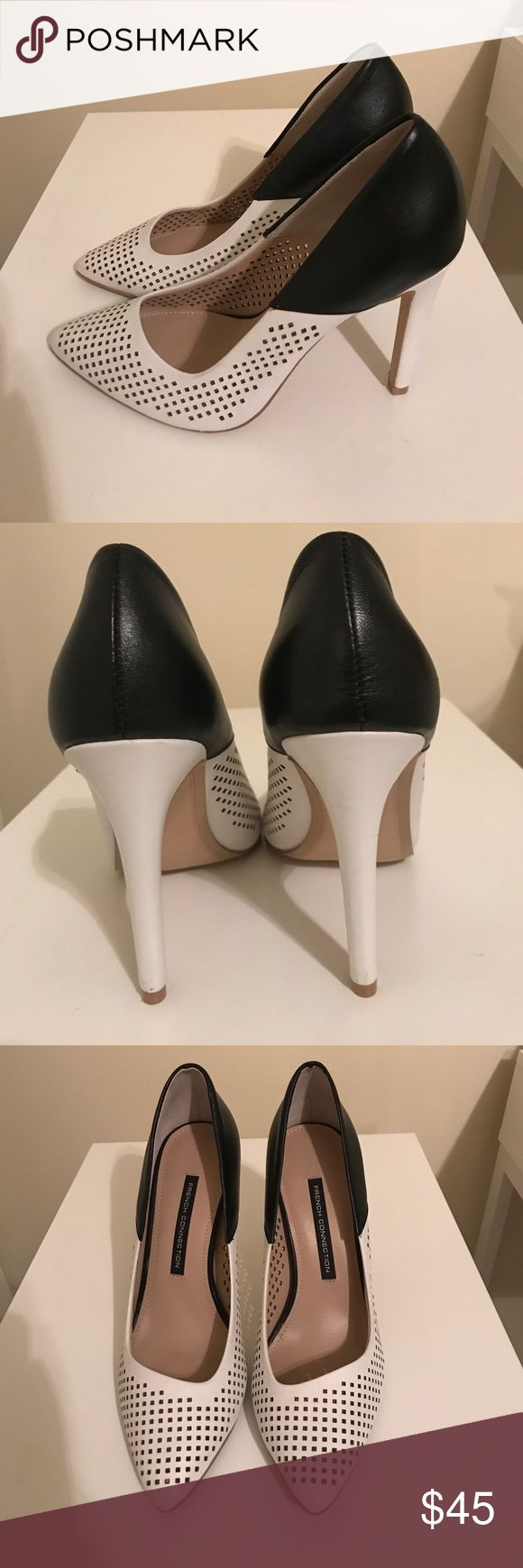 French Connection heels Stunning classy black and white closed toe heels in excellent used condition.very minor marks on heels. Leather upper with synthetic lining and sole.women's shoe size chart posted from brand as a reference guide. French Connection Shoes Heels