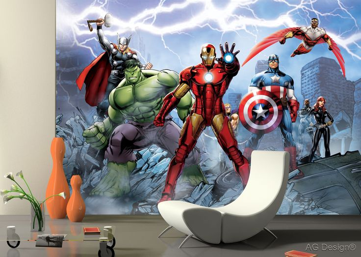 Avengers team definitely adds thunder power to the quiet cozy room!