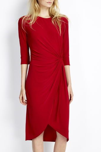 Red Knot Wrap Dress