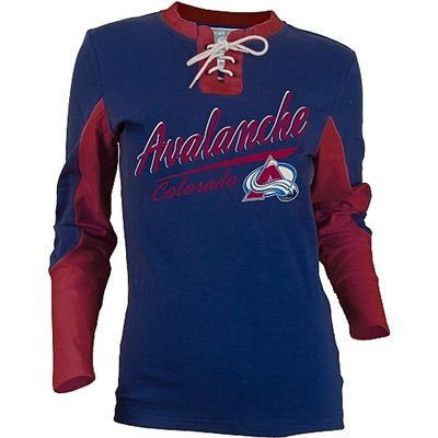 Old Time Hockey Colorado Avalanche Women s Adina Lace-Up Jersey T-Shirt  7afa68bad8